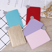 1PCS Unbreakable Portable Stainless Steel Cosmetic Mirror Travel Shatter-proof Makeup Mirror With Carry Sleeve Birthday Gift