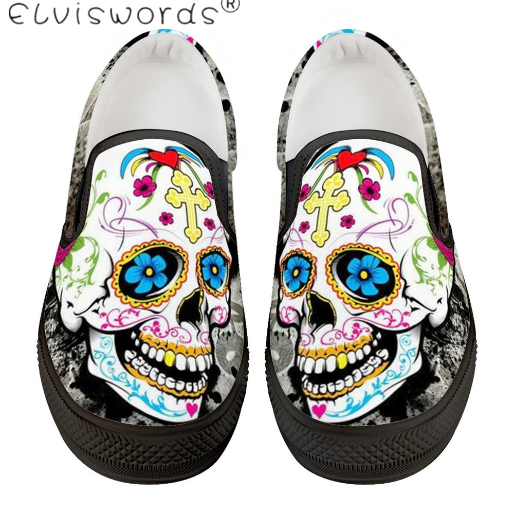 Cheap ElVISWORDS New Sugar Skull Printed Leisure Shoes Men Black/White Spring Outdoor Slip On Sneakers Fashion Loafers For Boys