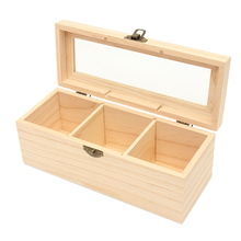 Стеклянная крышка Винтажный чехол дисплей чай Многофункциональный контейнер подарок деревянный прочный защитный твердый 3 отделения для хранения коробка