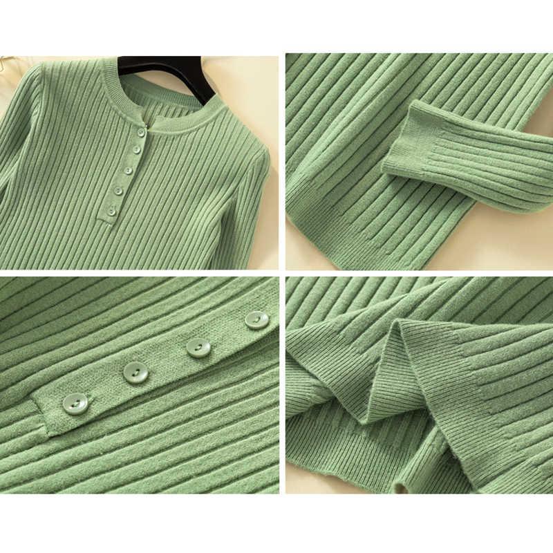 2020 Tombol Sweater Wanita Dasar Slim Rajutan Pullover Wanita Sweater Pullover Jumper Musim Gugur Musim Dingin Wanita Gaya Korea Sweater
