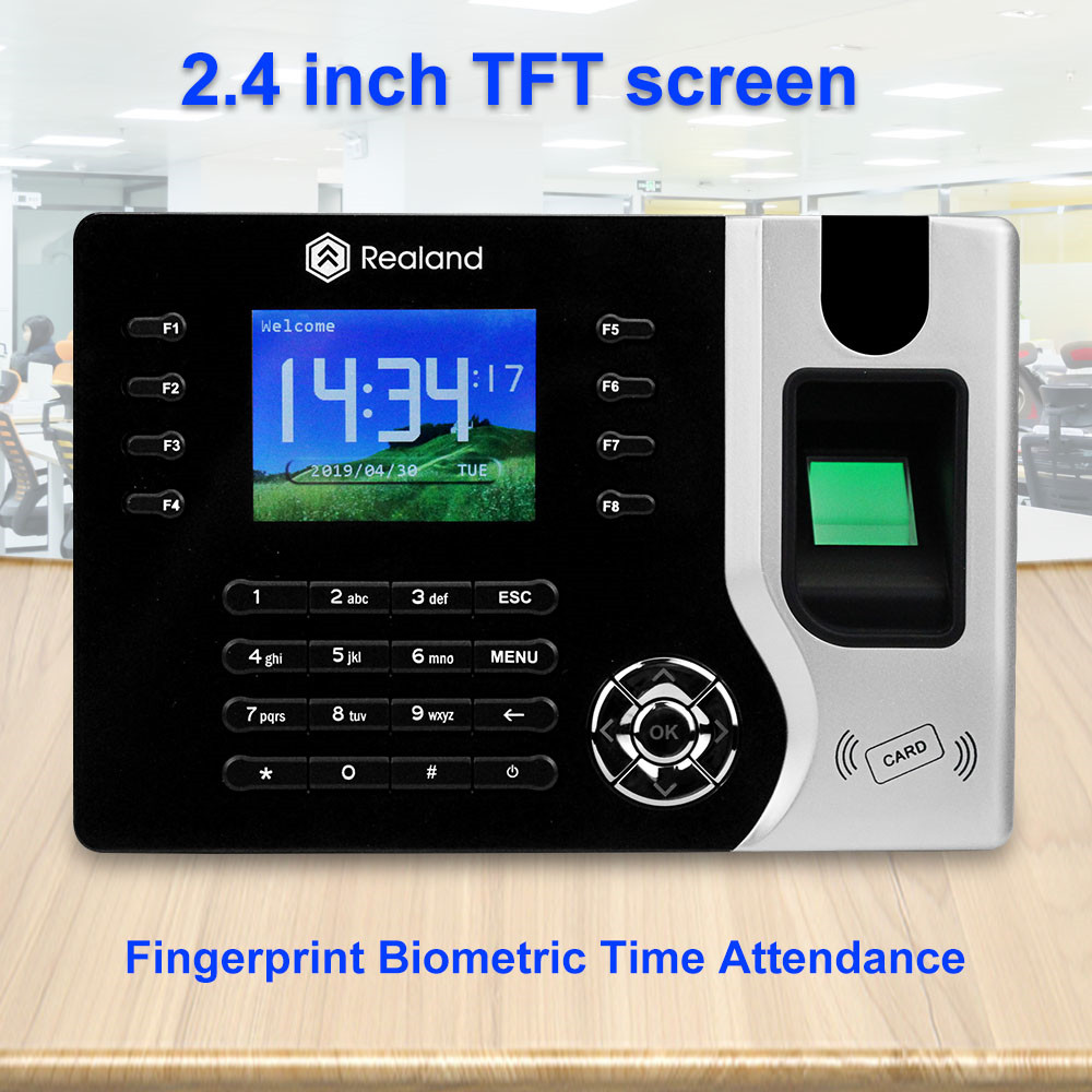 2.4inch TCP/IP/USB RFID Fingerprint Biometric Attendance Machine System Finger Reader Time Clocker Employee Check-in Recorder