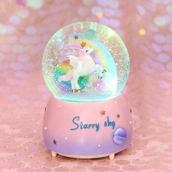 Bola de cristal de nieve unicornio Luna juguete nieve + luz + música para niños cumpleaños regalo de Navidad juguete