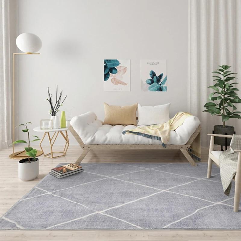 tapis epais de serie grise style nordique marocain pour salon chambre a coucher chambre d enfant geometrique canape table basse