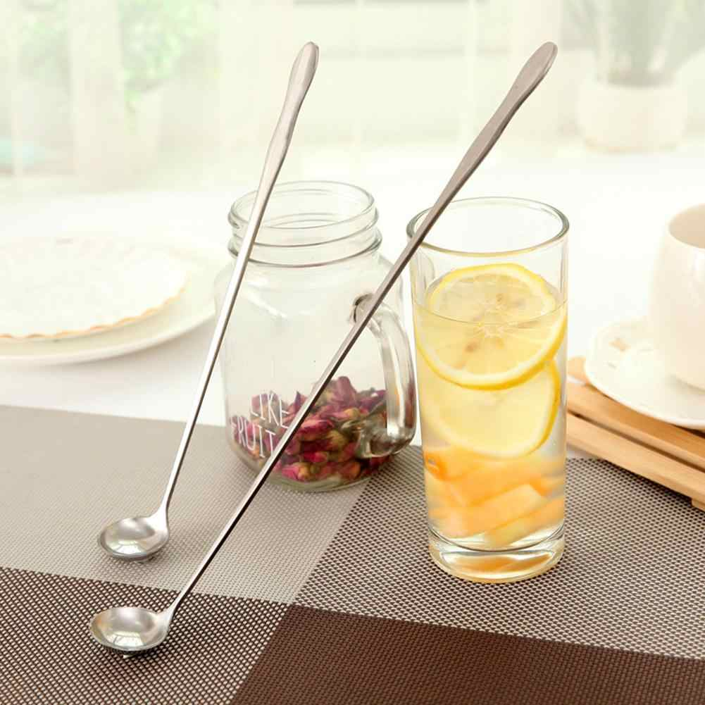 26cm Portable Stainless Steel Long Handle Coffee Ice Cream Tea Mixing Spoon