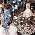 2020 Plus Size Wedding Gowns Rhinestones Crystals Lace Beaded Vestido de noiva Long Sleeve African Mermaid Wedding Bride Dress