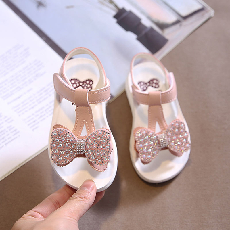 Toddler White Sandals | Summer Toddler Baby Girls Pink White Sandals For Kids Children Glitter Rhinestone Bow Soft Bottom Princess Shoes Sandals New