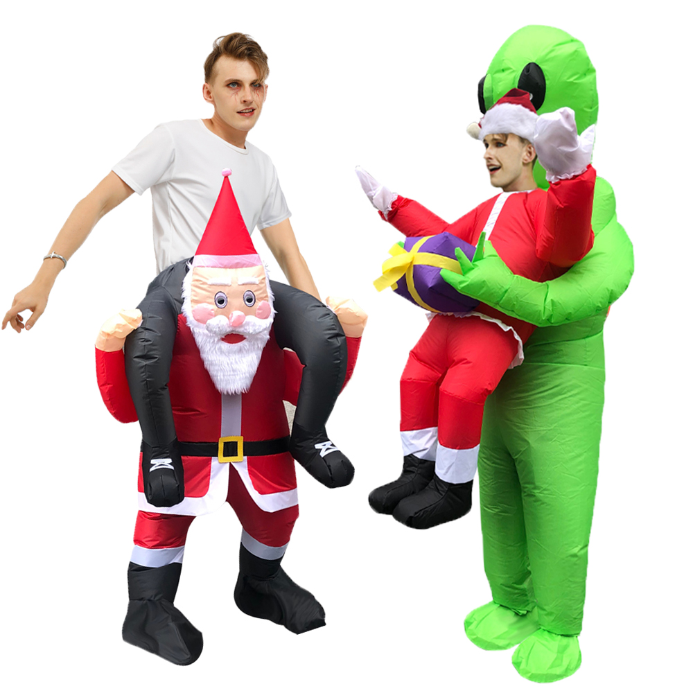 2020 Christmas Costume Inflatable Santa Claus Costumes Dress Up Funny Ride On Me Carry On Santa Pants Carnival Xmas Party Cloth