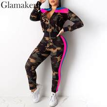 Glamaker Camouflage patchwork knitted jumpsuit Casual bodycon fitness autumn playsuit Women long sleeve slim winter overalls(China)