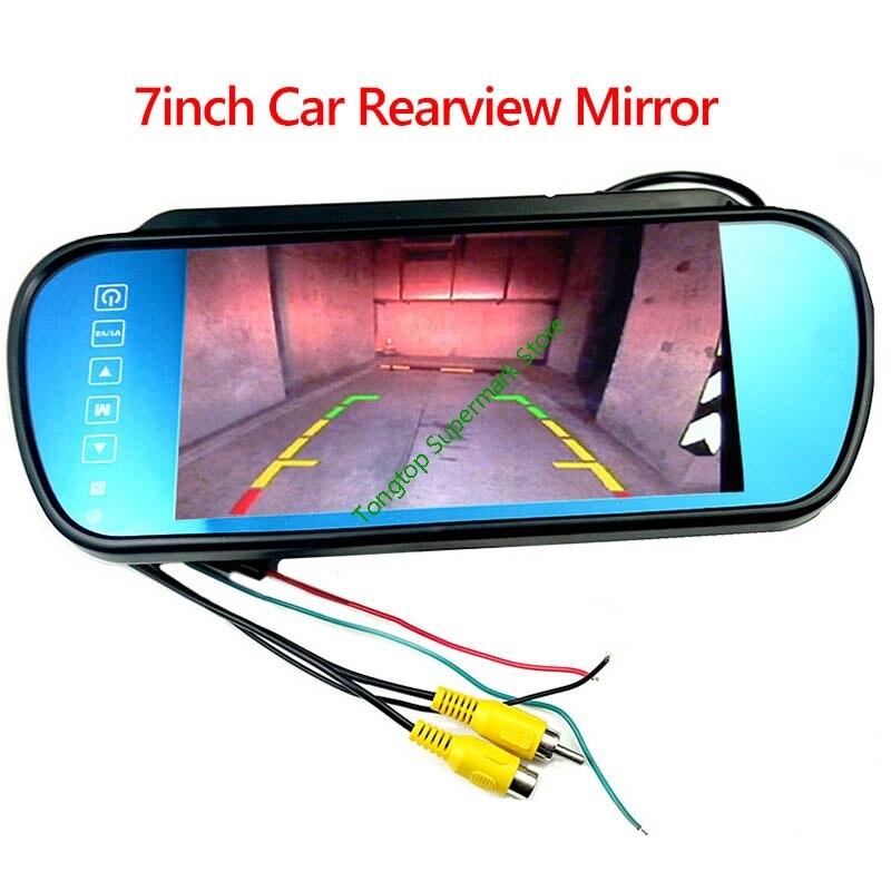 Monitor de espejo retrovisor LCD TFT de 7 pulgadas, conexión a cámara de respaldo/DVD con 2 entradas de vídeo cc 12V PAL/NTSC