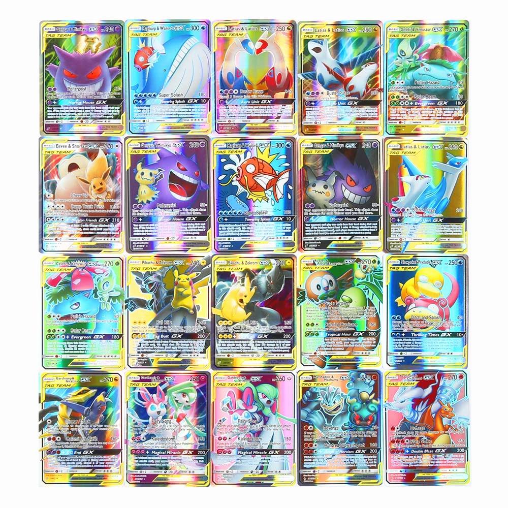 Высокое качество 10-300 шт Pokemones карты Tag Team GX EX Мега карты Pokemones английские карты PIKACHU игрушки для детей подарок