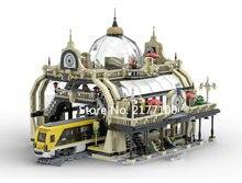 새로운 도시 시리즈 기차역 모델 빌딩 블록 세트 클래식 아이디어 MOC StreetView 건축 완구 어린이를위한