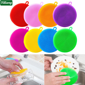 1pcs Silicone Dishwashing Brush Home Kitchen Cleaning Scouring Pad Nonstick Double-Sided Mat Dishes Fruit Vegetable Washing Tool
