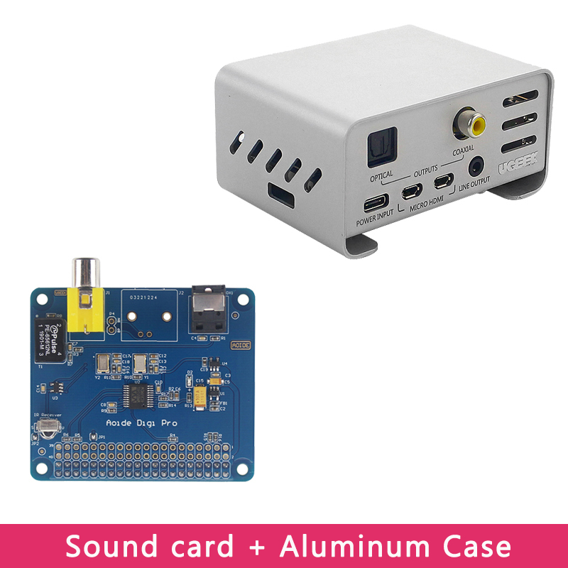Raspberry Pi 4 AOIDE HIFI DiGi Pro Digital Sound Card Extension Board | Aluminum Alloy Case For Raspberry Pi 4 Model  B