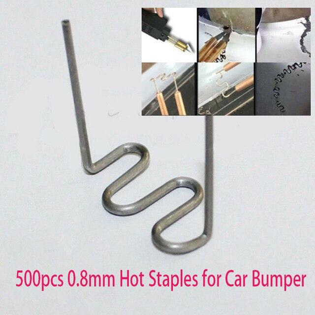 2020 500pcs 0.8mm Welding Wires Hot Staples for Car Bumper Flat Stapler Repair Plastic Welding Welding Soldering Supplies Parts