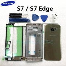 Полный корпус, чехол для Samsung Galaxy S7 Edge S7 G935F G930F, переднее стекло, средняя рамка, аккумулятор, Задняя стеклянная крышка