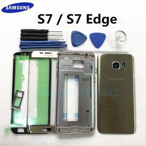 Image 1 - Volledige Behuizing Case Voor Samsung Galaxy S7 Rand S7 G935F G930F Voor Glas Midden Frame Batterij Deur Achter Glas cover