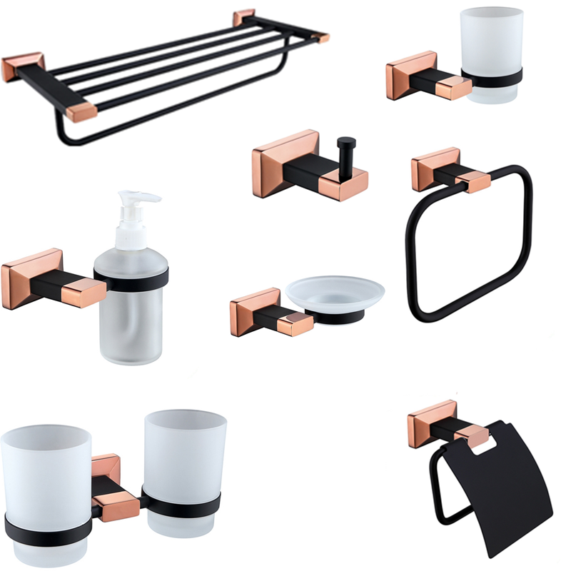 Solid Brass Rose Gold and Black Toilet Brush Holder Ceramic Cup Bathroom Hardware Set Toothbrush Holder Bathroom Accessories image