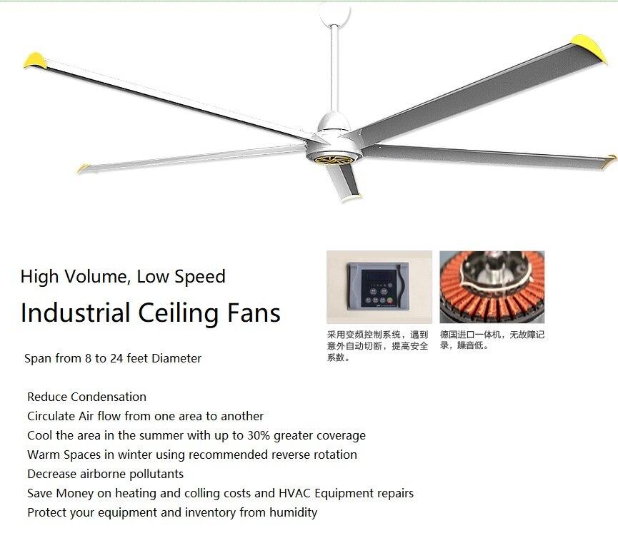 Ventilateur industriel de plafond de diamètre de 7.2m d'envergure pour l'entrepôt/grands ventilateurs à faible vitesse de Volume élevé