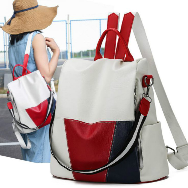 2019 New Anti-theft Women's Backpack Fashion Stitching Solid British Style Waterproof School Bag Travel Shoulder Bag Hot
