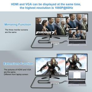 Image 4 - Thunderbolt 3 USB C ประเภท C ถึง HDMI VGA USB HUB 4K สำหรับ Samsung S9 HDTV โปรเจคเตอร์คอมพิวเตอร์ USB C Cable Adapter