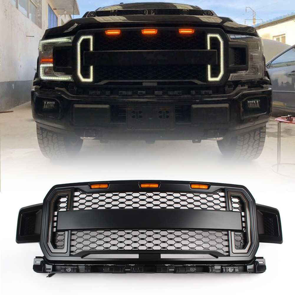 Black Fits for 2009-2014 F150 Grill F-150 Raptor Style Front Grille with 3 Amber LED lights