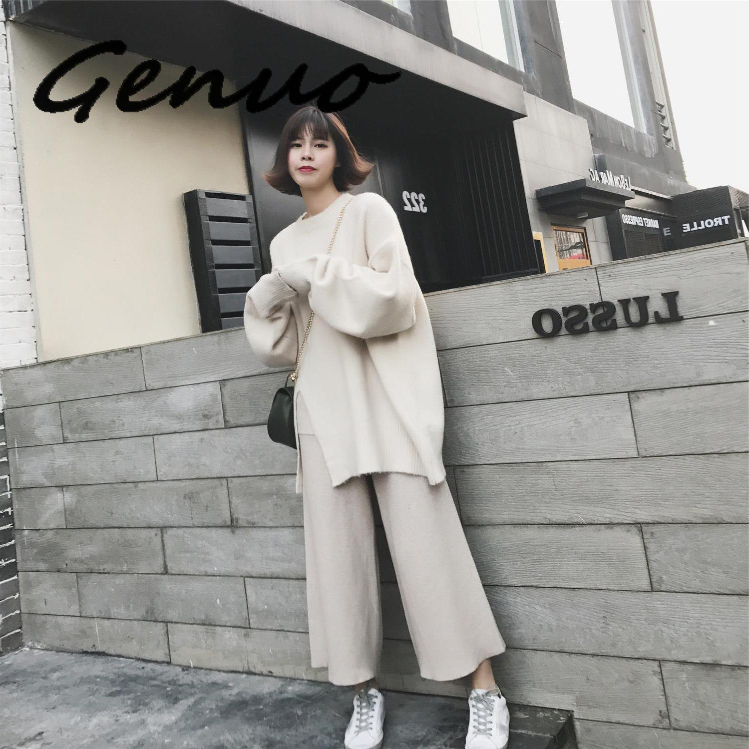 Genuo Women Sets Sweaters+pants Two Pieces 2020 Autumn Winter New Female Long Sweater With Wide Leg Pant Loose White Woman Sets