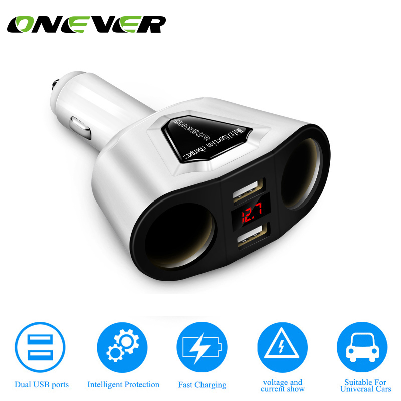 Adaptor Charger Cigarette-Lighter 2-Sockets Dual-Usb Onever with Voltage-Current-Display