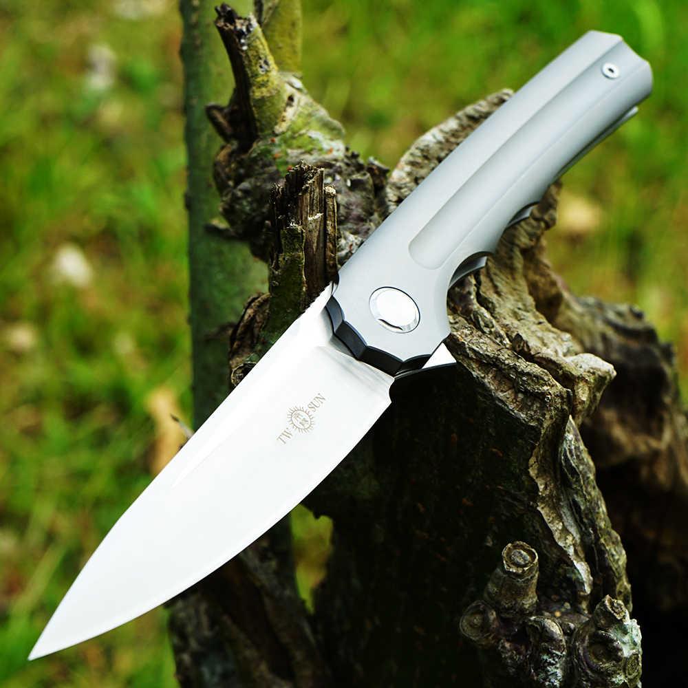 TWOSUN S90V ostrze składany scyzoryk nóż taktyczny noże myśliwskie narzędzie survivalowe EDC TC4 tytanowe łożysko kulkowe szybko otwarte TS89