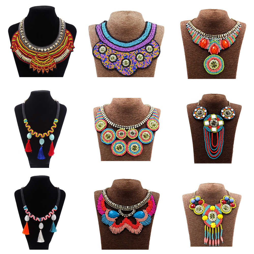Womens STATEMENT Long Big Large BROWN Bib Collar Cord Necklace AFRICAN Tribal