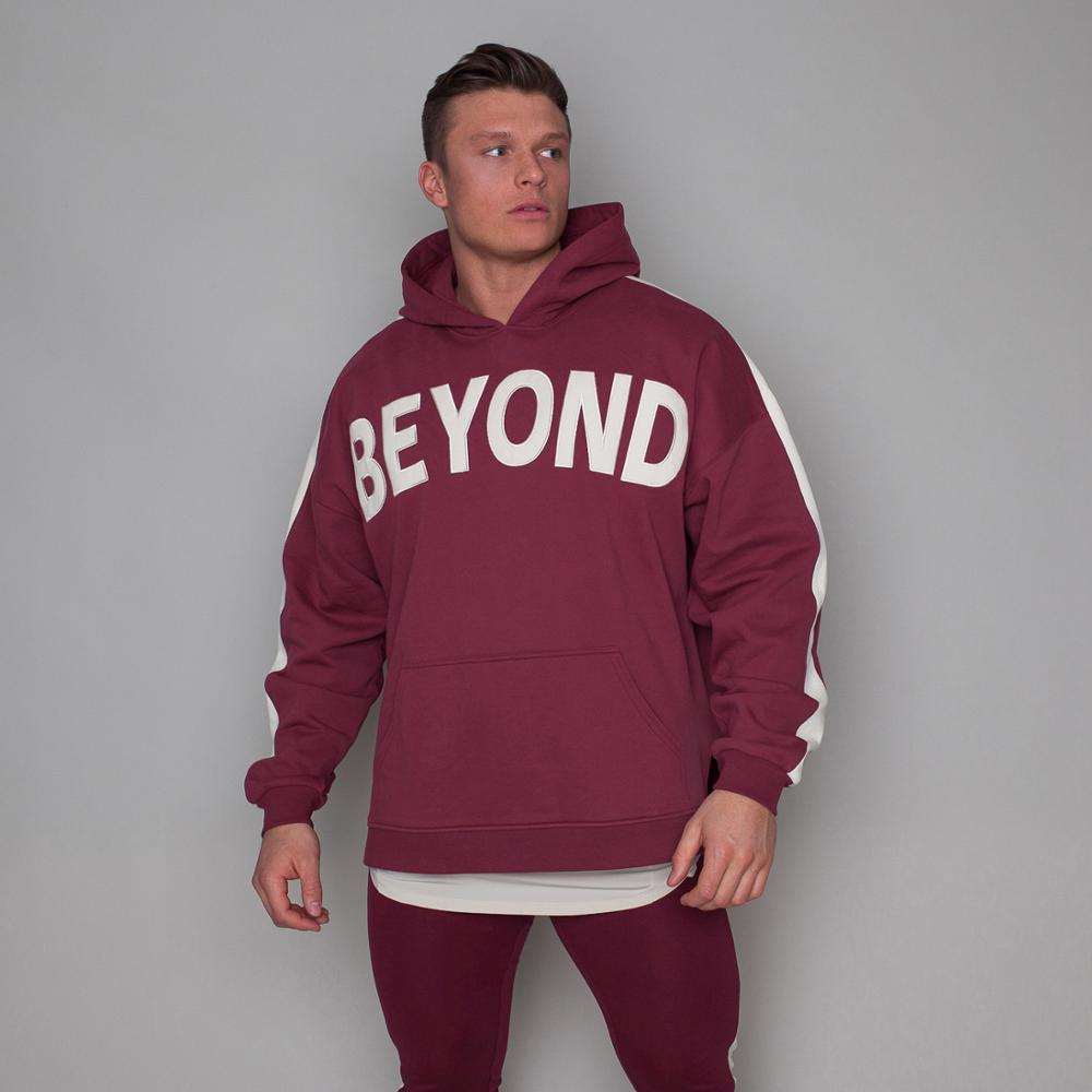 2019 BEYOND Mens Zipper Hoodies Fashion Casual Male Gyms Fitness Bodybuilding Cotton Sweatshirt Sportswear Brand Top Coat