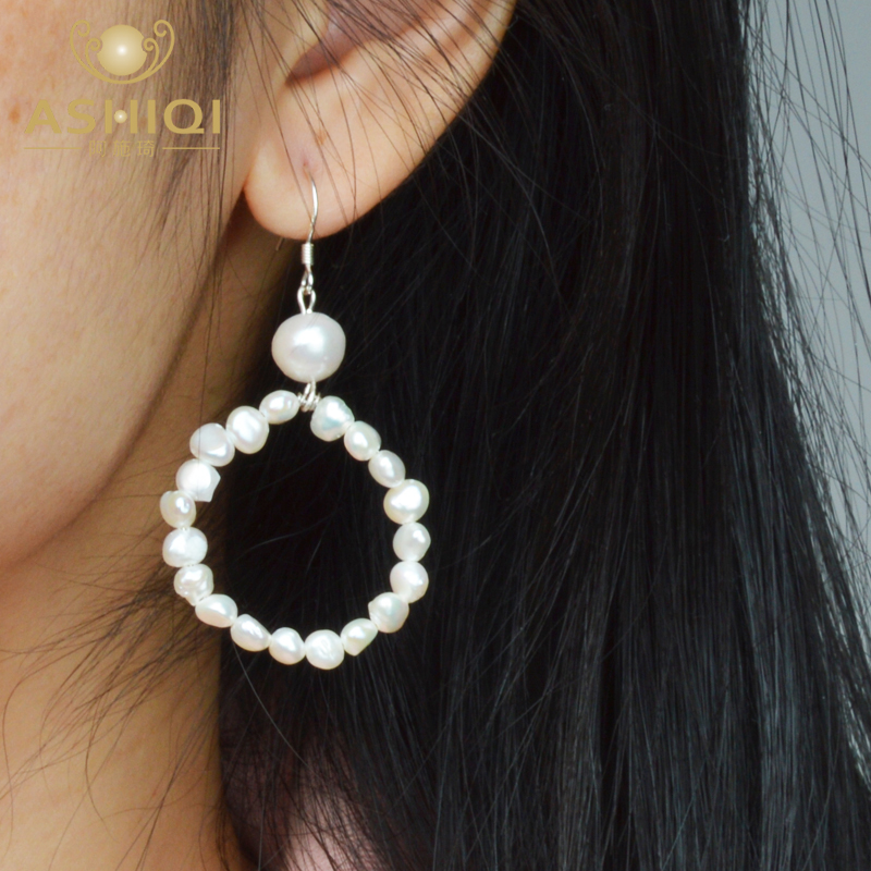 ASHIQI 2019 Natural Freshwater Pearl Dangle Earrings 925 Sterling Silver Fashion Jewelry For Women Gift