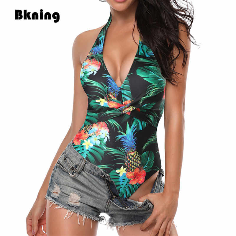 Bkning Floral Printing One-piece Swimsuit Women Pineapple Leaf Print Swimsuits One Piece Plus Size Swimwear Halter Bandage 2XL