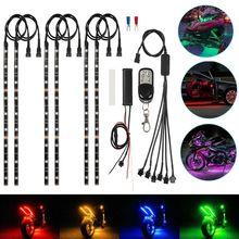 6X 오토바이 LED 네온 스트립 램프 무선 RGB 18 색 원격 제어 글로우 조명 아래 LED 자동차 장식 빛 스트립 키트