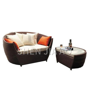 Sofa-Chair Recliner Rattan Round Terrace Outdoor Balcony Bed Combination Split Leisure