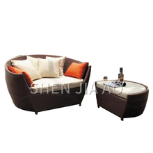1PC Outdoor Round Recliner Leisure Balcony Rattan Sofa Chair Terrace Rattan Bed Chair Combination Split Recliner Sofa Chair