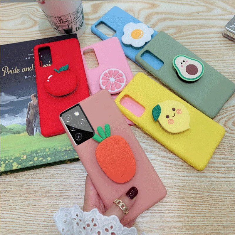 For Samsung Galaxy S21 S30 Ultra Cute Fruit Case Cover For Samsung S21 S30 Plus S21 3D Cartoon Phone Holder Silicone TPU Cover