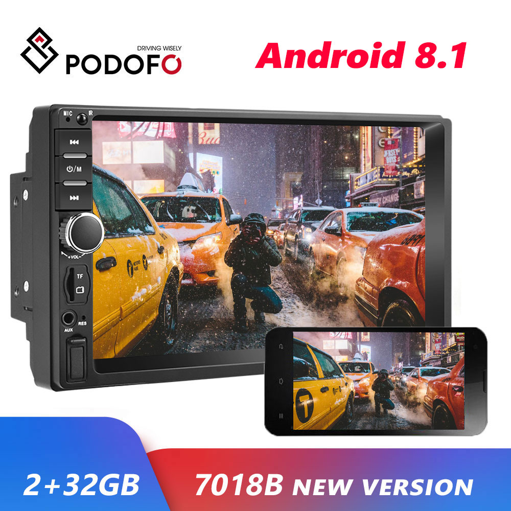 Podofo <font><b>2</b></font> <font><b>din</b></font> Android 8.1 Car <font><b>Radio</b></font> GPS multimedia Player Universal auto Stereo Video MP5 Player Autoradio GPS WIFI Bluetooth FM image