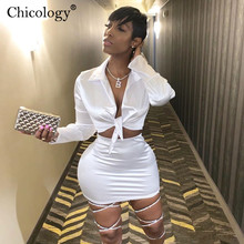 Chicology Women Silky Satin 2 Two Piece Set Lace Up Long Sleeve Crop Top Skirt 2020 Autumn Winter Clothes Fashion Sexy Outfits