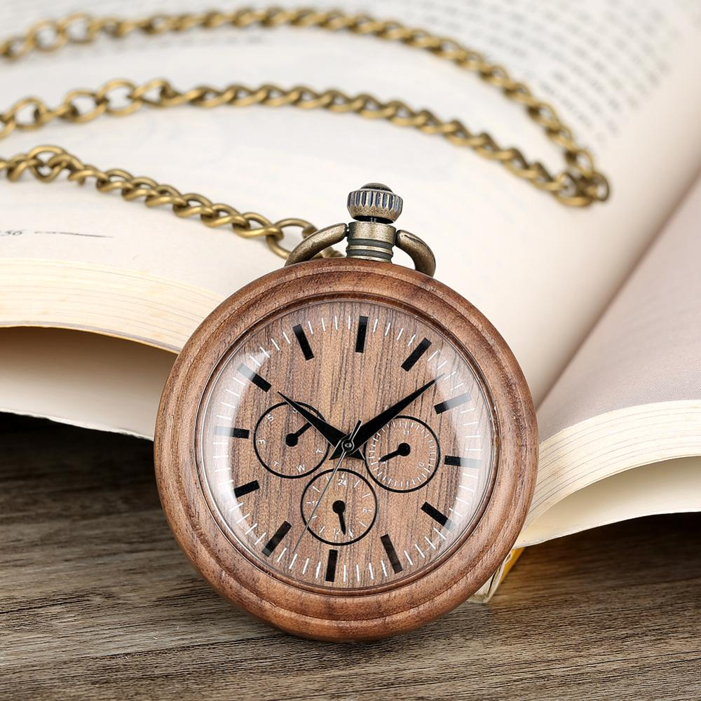 Wood Pocket Watch Walnut Three Eyes Wooden Pendant Watches Open Face Chian Watch Unique Mens Gifts Montre Gousset Homme