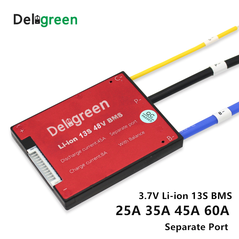 3.7V 13S BMS 16A 25A 35A 45A 60A PCM/PCB/BMS for 48V 18650 LiNCM Li ion lithium battery pack for electric bicycle and scooter