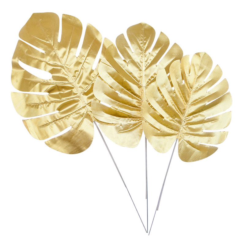 5Pcs Artificial Gold Turtle Back Leaf Scattered Tail Leaf DIY Wedding Decor For Home Christmas Party Artificial Palm Leaves