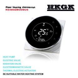 Termostato redondo esperto da tela da operação da ue, controle remoto rs485 para o aquecimento da água do assoalho