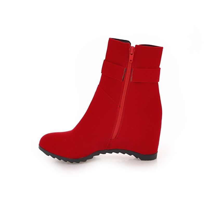 EGONERY kış yeni moda yarım çizmeler dışında sıcak yüksek topuklu zip metal dekorasyon akın yuvarlak ayak kadın ayakkabı damla nakliye