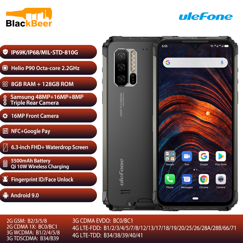 Ulefone Rüstung 7 6,3 Zoll Dual 4G SmartPhone Helio P90 Octa Core IP68/IP69K Robuste Handy Globale Version bands Mobiltelefon NFC