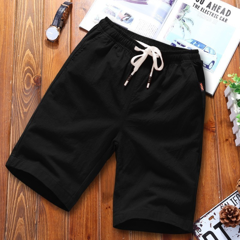Summer Shorts Men Casual Breathable Cotton Shorts For Men Elastic Waist Breathable Beach Shorts Hoome Solid Black Short Pant 5XL