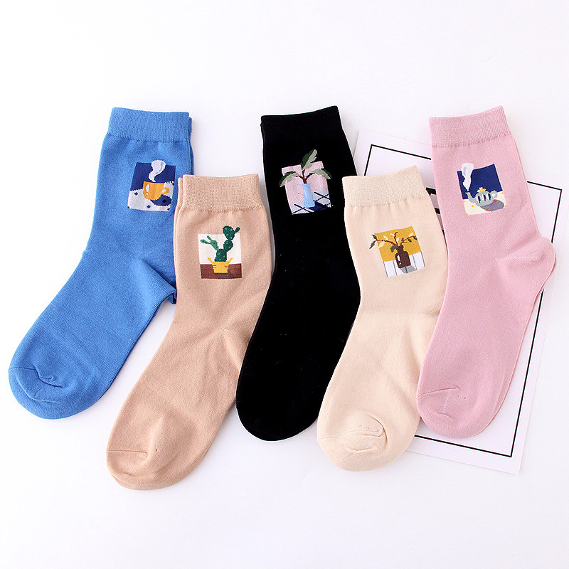 1 Pair New Style Funny Socks Hot Sale Female Socks Plant    Jacquard Cute Wild Cactus Solid Color Cotton Socks