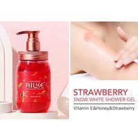 Whole Sale AILKE Strawberry+Rose+Papaya+sakura Fruit Lightening Body Wash Private label Skin Whitening Bath Shower Gel 500ml 5
