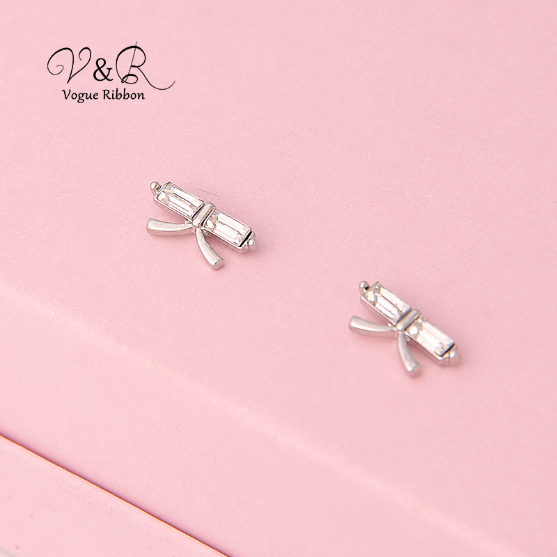 3 pairs a set, cute stud earring imitation rhodium plated, 1pair CZ stone stud, 1 pair pave stone butterfly   stud earring, 1 pa (8)