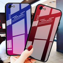 جراب هاتف فاخر من الزجاج الملون المتدرج المقسى لهاتف آيفون 11 مجموعة pro max x xr xs 8 7 6 6s plus غطاء حماية من الحواف الناعمة