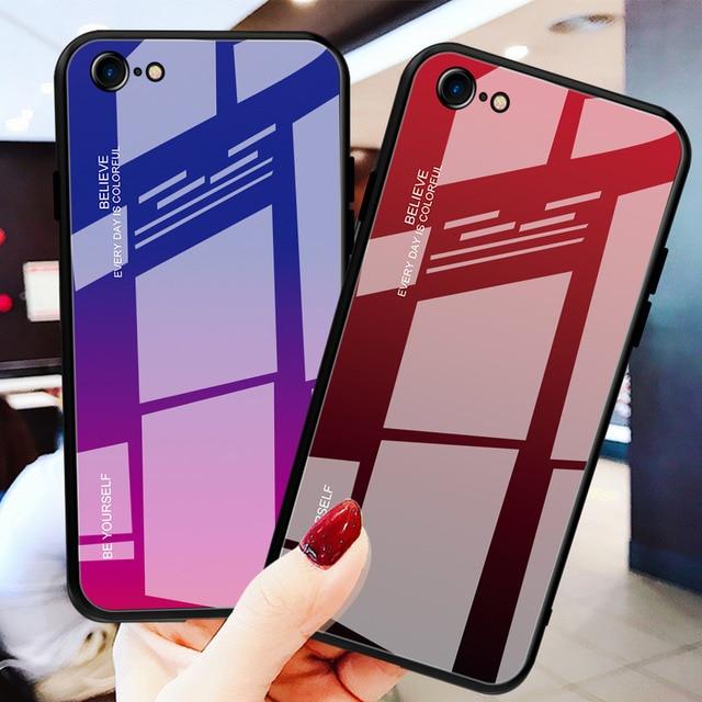 Lüks temperli degrade renkli cam telefon kılıfı için iphone 11 lot pro max x xr xs 8 7 6 6s artı kapak yumuşak kenar damla korumak